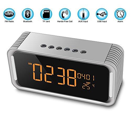 Portable Bluetooth Lautsprecher, 4.2 Wireless Bluetooth Lautsprecher mit einer Taste Freisprecheinrichtung, FM-Radio-Funktion und Wireless-Lautsprecher mit Uhrzeit, Datum, Temperatur, Doppel-Wecker , Gray