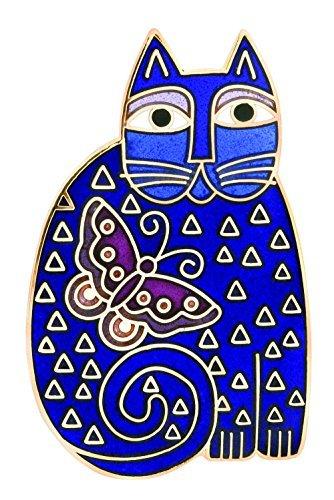 laurel-burch-blue-feline-flutterbye-cloisonne-brooch-in-gold