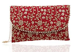 Kuber Industries Women's Handcrafted Embroidered Clutch Bag Purse Handbag for Bridal, Casual, Party, Wedding (Red, Maroon) - CTKTC034508