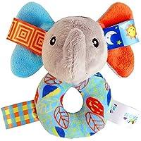 Wudi Bebé Elefante bebé traqueteos del Anillo del Peluches Handbell de Agarre Relleno Suave traqueteo de los Juguetes para el niño