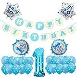 Yoart 1. Geburtstag Dekorationen für Junge Alles Gute zum Geburtstag Banner Folie Ballons Dekoration Set blau