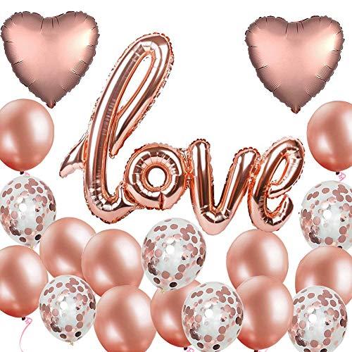 19 Stück Roségold Luftballon Hochzeit XXL LOVE Folienballon Rose Gold Folienballon Herz Konfetti Ballons Set für Geburtstag Heiratsantrag Hochzeit Party Valentinstag Dekoration