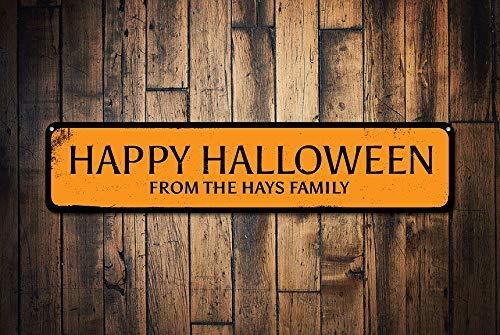 ween Schild Personalisierte Familienname Schild Metall Halloween Dekoration Custom Family Haunted House Schild Dekorative Metallschilder für Frauen Wand Post Blechschild Geschenk ()