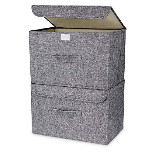 Dimj scatola di immagazzinaggio, set di 2 cesti per la conservazione pieghevoli contenitori di stoccaggio con coperchi e manici cestello per armadio ripiani armadio