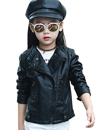 YoungSoul Giacche in Ecopelle Primavera Autunnali Cappotti Finta Pelle Giacca Manica lunga Moto per Bambine e Ragazze Nero Taglie 10-11 anni