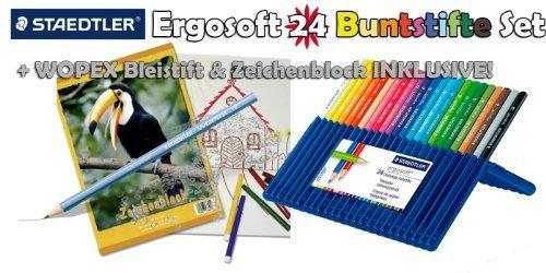 Preisvergleich Produktbild STAEDTLER Ergosoft® 24er Buntstifte Set + WOPEX Bleistift & Zeichenblock INKLUSIVE!