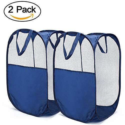 Dailyart Faltbare Wäschekorb Pop-up Mesh Wäscherei Aufbewahrungstasche behindern tragbare Kleidung behindern waschen Wäschesack mit verstärkten Tragegriffen--- blau( 2 Pack)