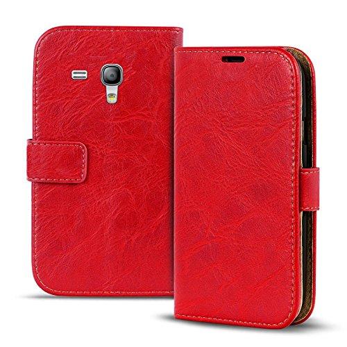 Samsung Galaxy S3 Mini Vintage Tasche Bookstyle Rot, PU LEDER Hülle Rot, Handyhülle Galaxy S3 Mini Flip Case Wallet, Booklet Cover Brieftasche Etui Schutzhülle mit Kartenfächer, Samsung Galaxy S3 Mini (4,0 Zoll (10,2 cm) (Samsung Mini 4 Case)