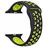 #8: M@SKED® Apple Watch Band - Sports Edition, Soft Silicone Strap Replacement Wristband for Apple Watch for Series 3, Series 2, Series 1, Nike+ Sports Edition (42mm Black/Yellow)