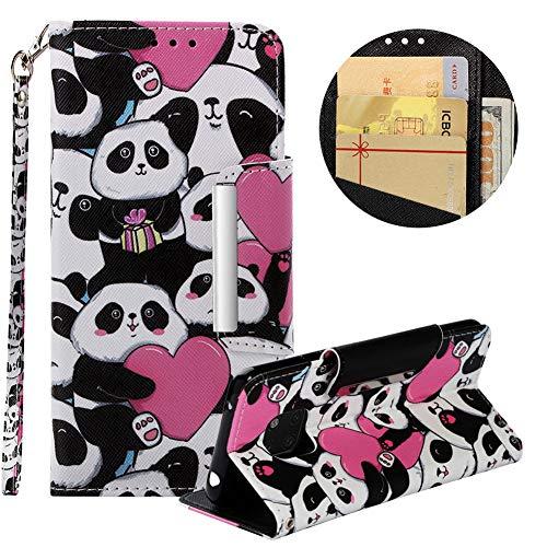 Brieftasche Hülle für Huawei Mate 20 Pro,Gürtel Lederhülle für Huawei Mate 20 Pro,Moiky Stilvoll Süß Panda Prägung Malerei Geprägt Kratzfest Magnetverschluss Stand Kartenfächer Handyhülle