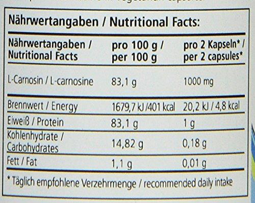 Zein Pharma, L-Carnosine, Capsules, 500mg, 60Capsules, 1Pack (1x 36g)