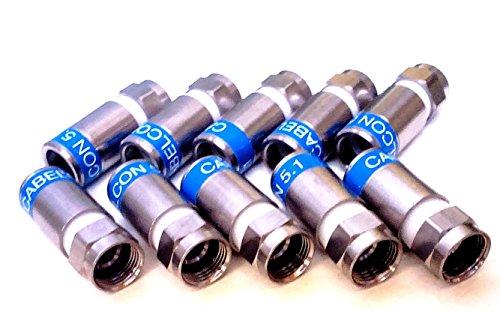 10 Stück Cabelcon F-56-CX3 5.1 - blau - F-Stecker RG6 Compression