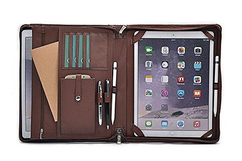iCarryAlls Maletín organizador en piel genuina para iPad Pro 12,9 pulgadas y documentos,Marrón