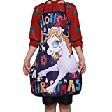 HENGSONG Adult Apron Unicorn Printed Christmas Family Dinner Cooking Baking Chef Christmas Decoration Gift, 70 * 60 CM