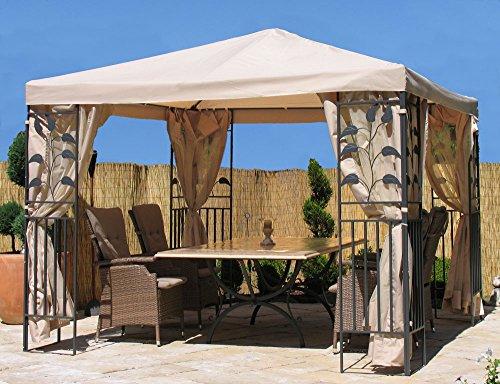 Grasekamp Blätter-Pavillon 3x3m Sand Gazebo Gartenpavillon Gartenzelt Partyzelt