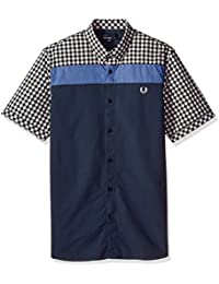 Fred Perry Men's Short Sleeve Gingham and Oxford Casual Shirt