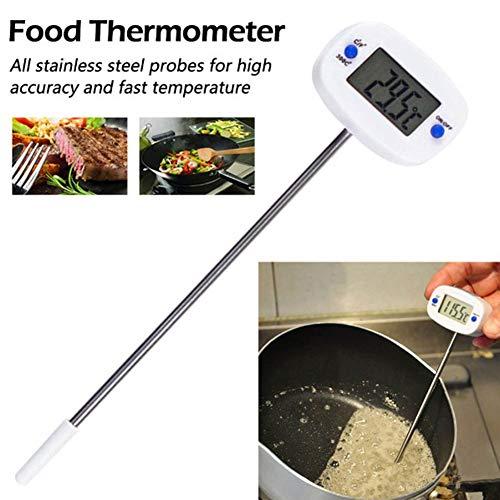 QXM Edelstahlsonden-Thermometer-elektronisches Digital-Flüssigkeits-Grill-Temperatur-Test-Werkzeug,Weiß