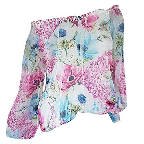 Zegeey Damen T-Shirt GroßE GrößEn Blumendruck Schulterfrei Schicker Elegant LäSsige Lose Oberteil Bluse Pullover Tops Shirt Hemd(A1-Hot Pink,EU-46/CN-4XL)