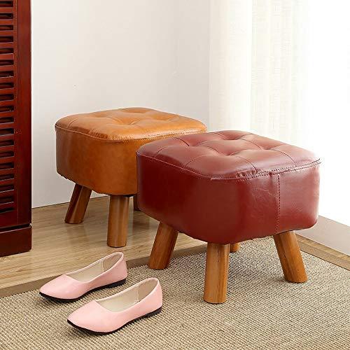 Yp sgabello per uso domestico, sgabello pieghevole per fotografia, sgabello colore puro gambe basse in legno similpelle soggiorno camera da letto cucina scarpa panca divano seduta spogliatoio,rosso