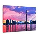 Kunstdruck - Skyline von Toronto - Bild auf Leinwand - 120 x 90 cm - Leinwandbilder - Bilder als Leinwanddruck - Städte & Kulturen - Nordamerika - Kanada - Stadtansicht von Toronto