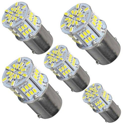 5pcs LED Ersatz für Auto Glühbirnen 650 Lumen 1156 1141 1003 3014 54smd Auto LED Glühlampe für Blinker Bremse Rücklicht RV-Lichter Weiß (Led-lampen Rv)