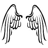 Wadeco Engelsflügel Wandtattoo Wandsticker Wandaufkleber 35 Farben verschiedene Größen, 45cm x 39cm, weiß