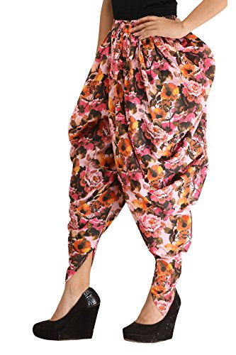 Floral Dhoti Pants for Girls & Women - Multicolour Printed Traditional Harem Pants in Cotton - Dhoti Pants for Ladies - Free Size Dhoti Pants - Bottom Wear - Ankle Length - by Ankita
