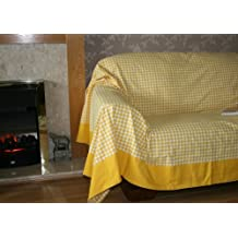Homescapes Couvre lit - Couverture, 1 ou 2 personnes (200 x 150cm). Pur coton ULTRA DOUX. Couleur JAUNE BLANC