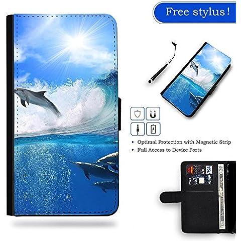 LVSPG Case Phonecell Gift / libero Stylus Protettiva Cassa Pelle Portafoglio Custodia Caso LENOVO Motorola Moto Z // Surfing wave dolphins //Surfing wave dolphins - Surfing Dolphins