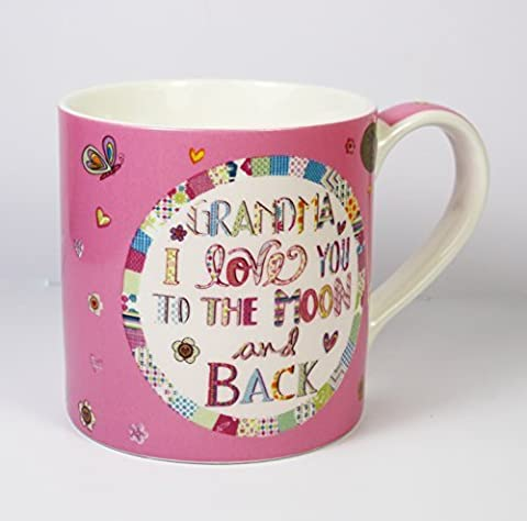 Home Sweet Home Range, 'GRANDMA I LOVE YOU TO THE MOON and BACK', Fine China Mug (Pink), Butterflies and Floral Decoration, Microwave and Dishwasher Safe, 8 x 8cm