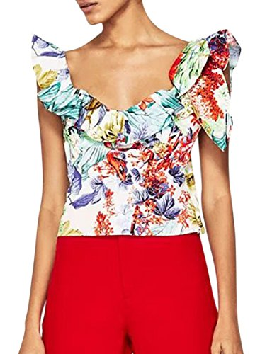 ACHICGIRL Women's Sleeveless Ruffle Floral Printed Tank Green&red