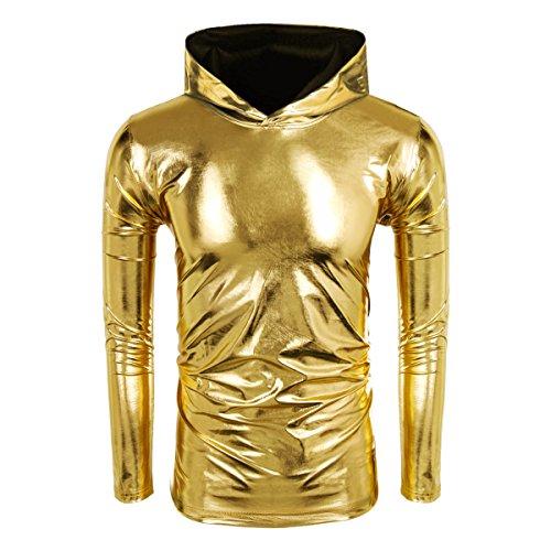 Cusfull Herren Metallic Pullover Glänzend Hoodie Langarm Sweatshirt -