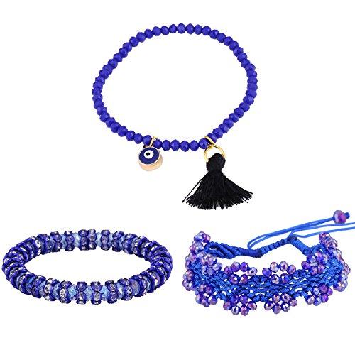 Bracciale Morella donna set 3 cinturini di nappa e perline di vetro blu lilla - Tessuto Nappa Set