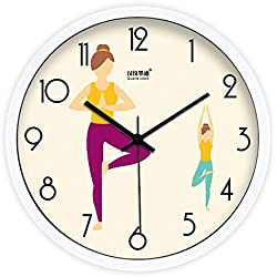 DIDADI Wall Clock Creative moderno fitness sala de yoga sala silencio delgado reloj reloj de pared Reloj de cuarzo de 12 pulg.