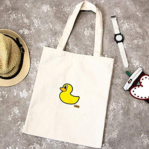 Goldyqin Exquisite einzelne Schulter-Segel-Taschen-weibliche Reißverschluss-Freizeit-Umweltschutz-Einkaufstasche-Studenten-Tasche - gelber Enten-Weiß-Hintergrund - White Eyed Ducks