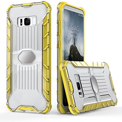 Galaxy S8 Transparent Coque,EVERGREENBUYING Ultra Slim léger 2 en 1 SM-G9500 Cases Housse Plaque métallique Etui Hard Shell Back Cover Pour Samsung GALAXY S8 Jaune Jaune