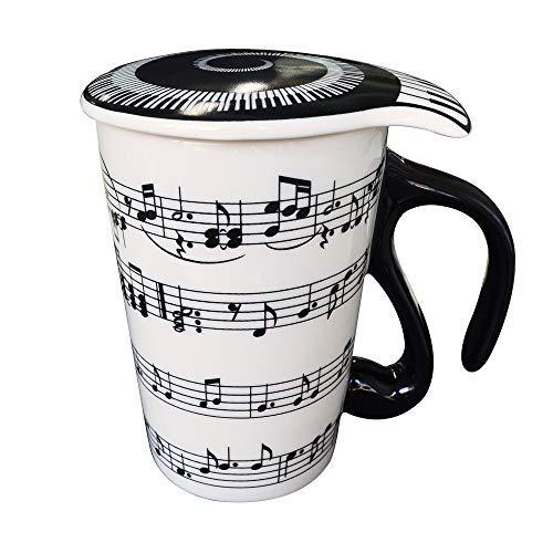 Giftgarden mug procelaine avec poignée, Tasse de Musique Tasse à café avec Couvercle créatif Cadeau Noël 400ml