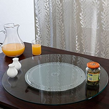 Sri Shubham ABS Plastic Body and Toughened Glass Top Lazy Susan (24-inch)