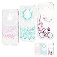 Galaxy A5 2017 Case [3 Pack] MAXFE.CO Protective Crystal Clear Soft Flexible TPU Silicone Case Cover Shockproof Gel Grip Cases for Samsung Galaxy A5 2017 Model, Pink Gradient Flower + Blue Gradient Totem + Bicycle & Tower