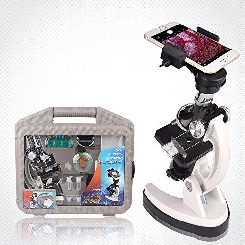 SOLOMARK Mikroskop-Kit für Kinder mit Metallarm und Gummibasis, 100X 600X 1200X Vergrößerungen, enthält 35+ Zubehör-Set und Handy-Aufbewahrungskoffer, mit Smartphone-Adapter