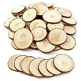 50PCS 5CM Wooden Wood Log Slices Discs Natural Tree Bark Table Decorative Wedding Centerpieces - Round Shape