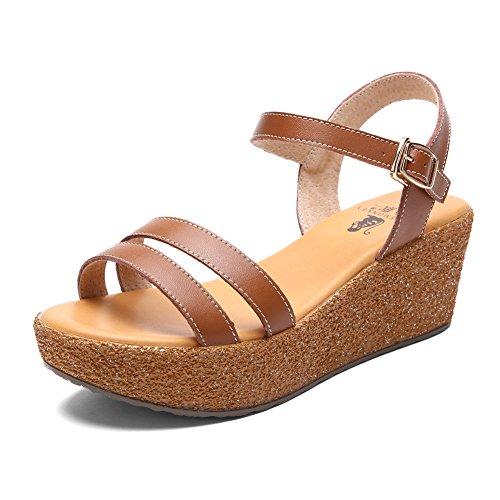 Mesdames wedge sandals/Chaussures occasionnelles avec des semelles épaisses de gâteau/Sandales romaines C