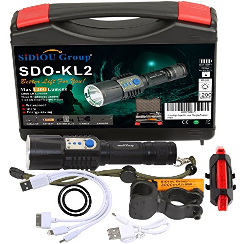 Sidiou Group super brillante del Cree T6 LED Linterna antorcha de 900 lúmenes 7W Zoomable de la antorcha con 1 x 3.7V 3000mAH 18650 Li-ion recargable (KL2-Kit)