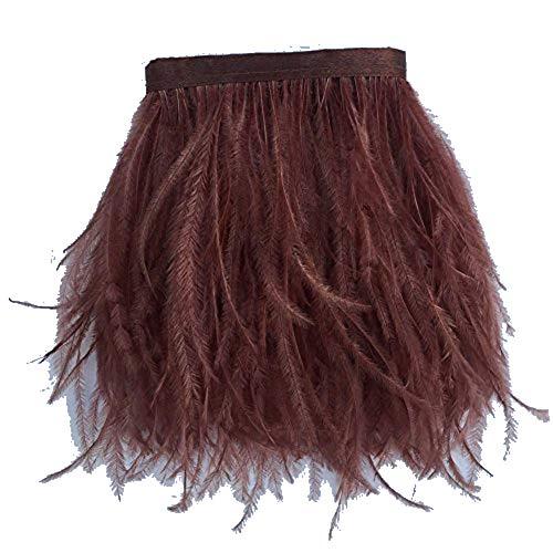 KOLIGHT Gefärbte Straußenfedern, natürlich, ca. 10-15 cm, Fransenborte für selbstgemachtes Kleid, zum Nähen, Basteln, für Kostüme, Dekoration, Packung mit 1,8 m - Bei Selbstgemachten Kostüm
