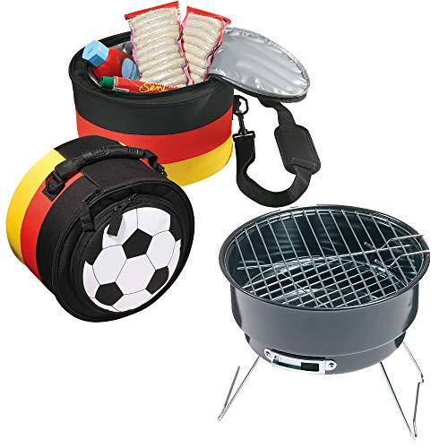 elasto Grillset Holzkohlegrill Barbecue Reisegrill Holzkohle mit Kühltasche im Deutschland-Design Isoliertasche
