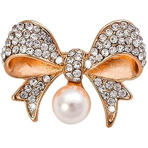 AnaZoz Joyería de Moda Broche de Mujer Acero Inoxidable Broche Lazo Mariposa Broches y Pins Para Mujer Broche de Boda Color Oro
