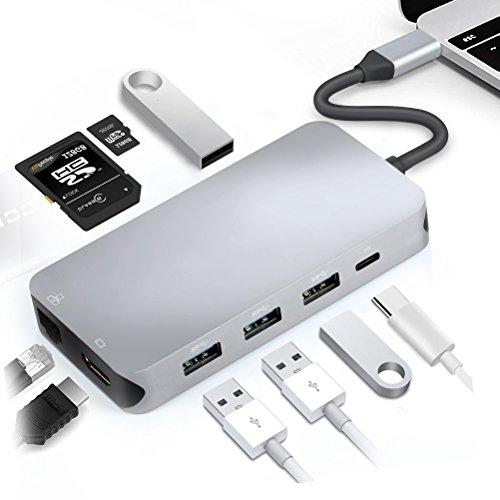 Hub USB C, 9in 1USB C auf HDMI und Hub Netzwerk LAN Gigabit Ethernet RJ45, mit Ports 4usb3.0, Kartenleser SD/TF und USB-Lade-Port C (grau)