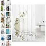 Duschvorhang, viele schöne Duschvorhänge zur Auswahl, hochwertige Qualität, inkl. 12 Ringe, wasserdicht, Anti-Schimmel-Effekt (Balance, 180 x 200 cm)