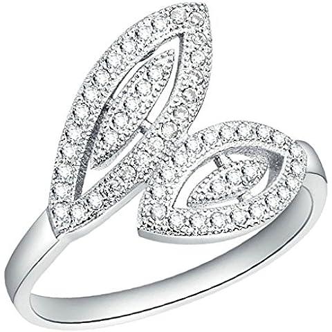 Vmculb Joyería Manera Anillo Chapado en Oro Mujer Plata Forma de Hojas CZ con Circonitas Diamantes Imitación Pavé Anillos de Eternidad