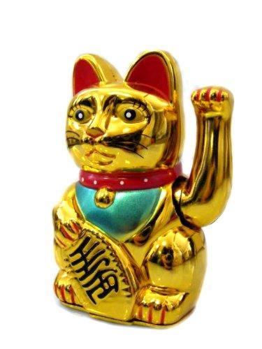 Winkekatze Maneki Neko Goldfarben Glückskatze winkt das Glück herbei 13cm
